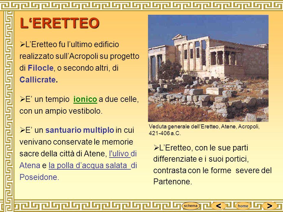 <<<< >>>> home LEretteo fu lultimo edificio realizzato sullAcropoli su progetto di Filocle, o secondo altri, di Callicrate. E un tempio ionico a due c