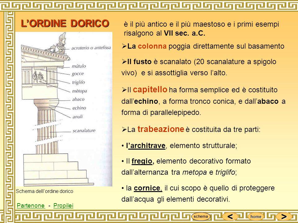 <<<< >>>> home LORDINE DORICO è il più antico e il più maestoso e i primi esempi risalgono al VII sec. a.C. La colonna poggia direttamente sul basamen