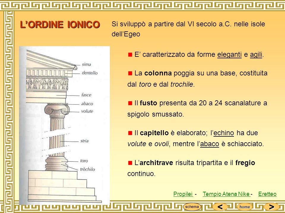 <<<< >>>> home LORDINE IONICO Si sviluppò a partire dal VI secolo a.C. nelle isole dellEgeo E caratterizzato da forme eleganti e agili. La colonna pog