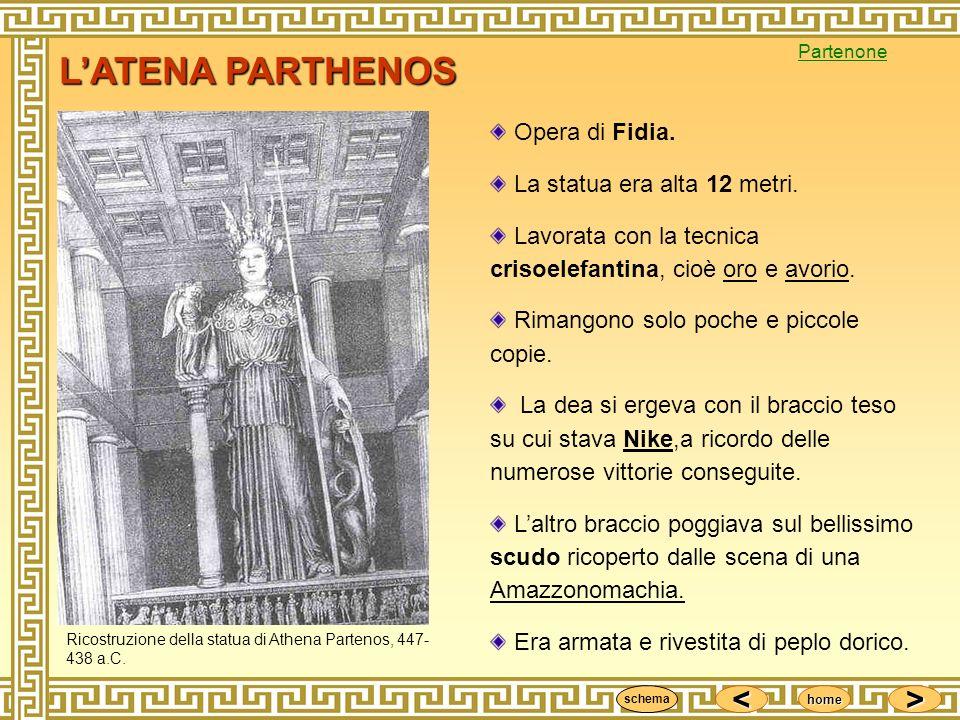 <<<< >>>> home LATENA PARTHENOS Opera di Fidia. La statua era alta 12 metri. Lavorata con la tecnica crisoelefantina, cioè oro e avorio. Rimangono sol