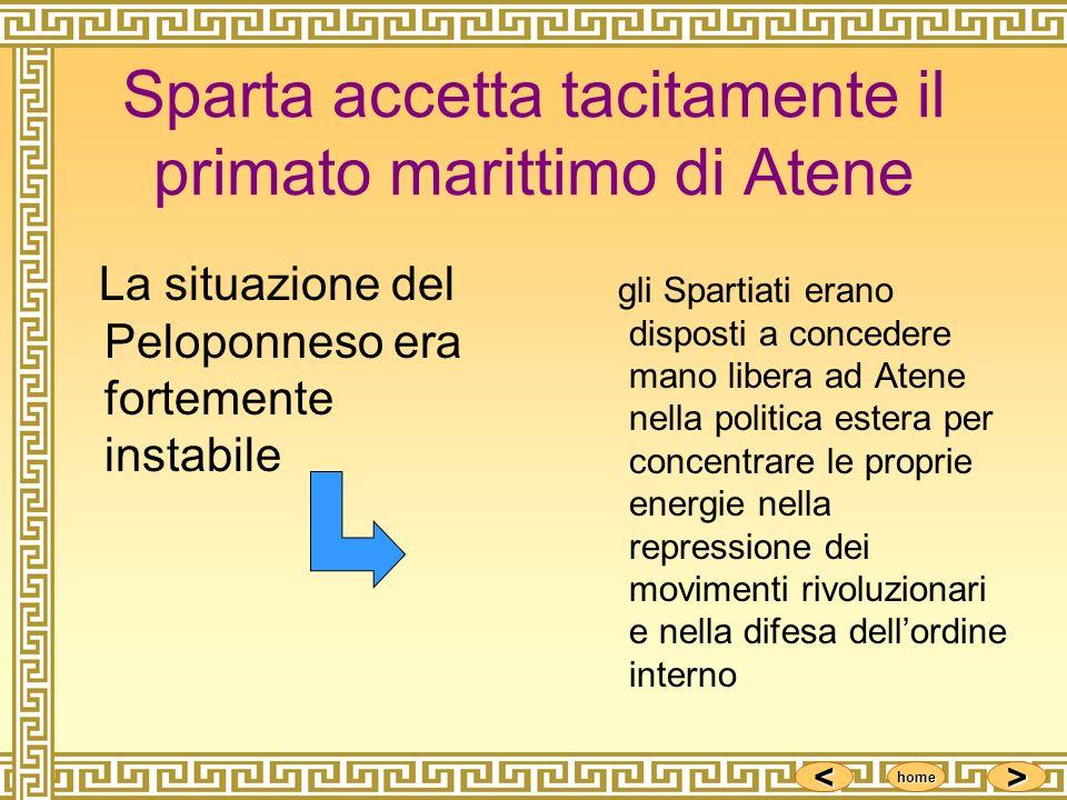 <<<< >>>> home Sparta accetta tacitamente il primato marittimo di Atene La situazione del Peloponneso era fortemente instabile gli Spartiati erano dis