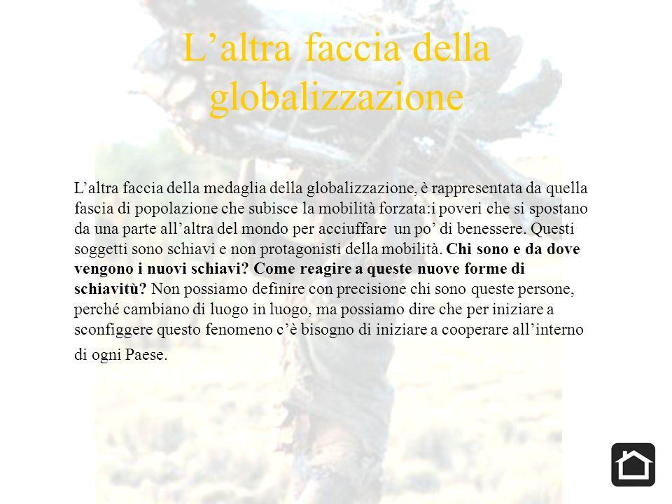Laltra faccia della globalizzazione Laltra faccia della medaglia della globalizzazione, è rappresentata da quella fascia di popolazione che subisce la