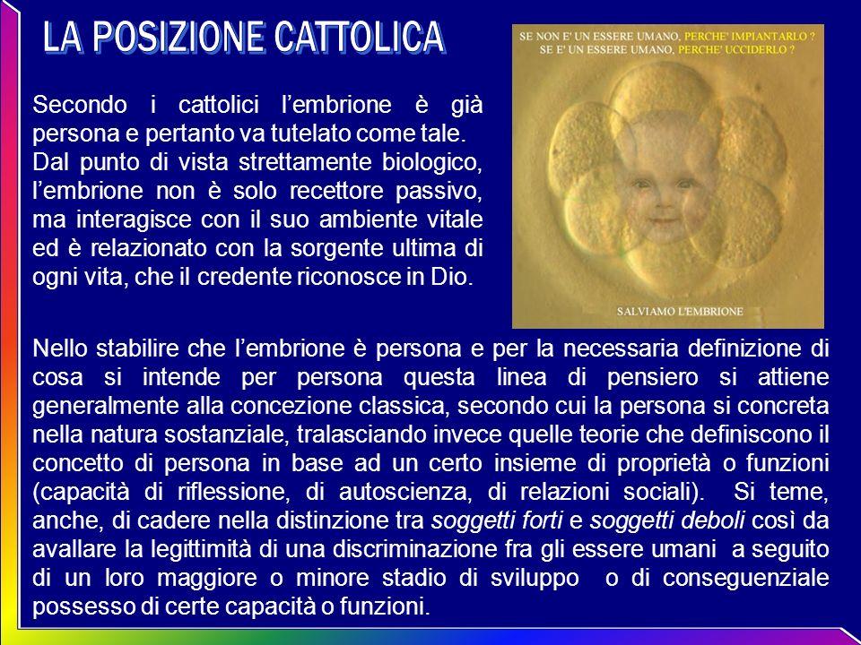 Secondo i cattolici lembrione è già persona e pertanto va tutelato come tale. Dal punto di vista strettamente biologico, lembrione non è solo recettor