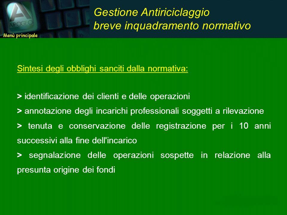Sintesi degli obblighi sanciti dalla normativa: > identificazione dei clienti e delle operazioni > annotazione degli incarichi professionali soggetti