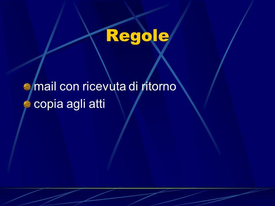 Regole mail con ricevuta di ritorno copia agli atti