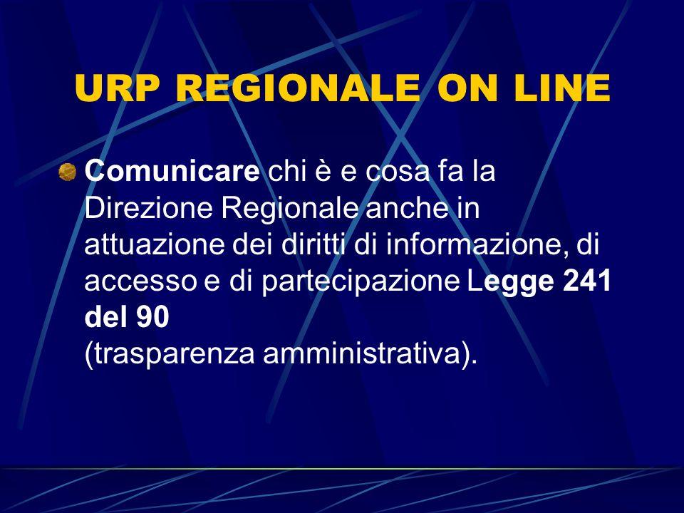 URP REGIONALE ON LINE Comunicare chi è e cosa fa la Direzione Regionale anche in attuazione dei diritti di informazione, di accesso e di partecipazione Legge 241 del 90 (trasparenza amministrativa).