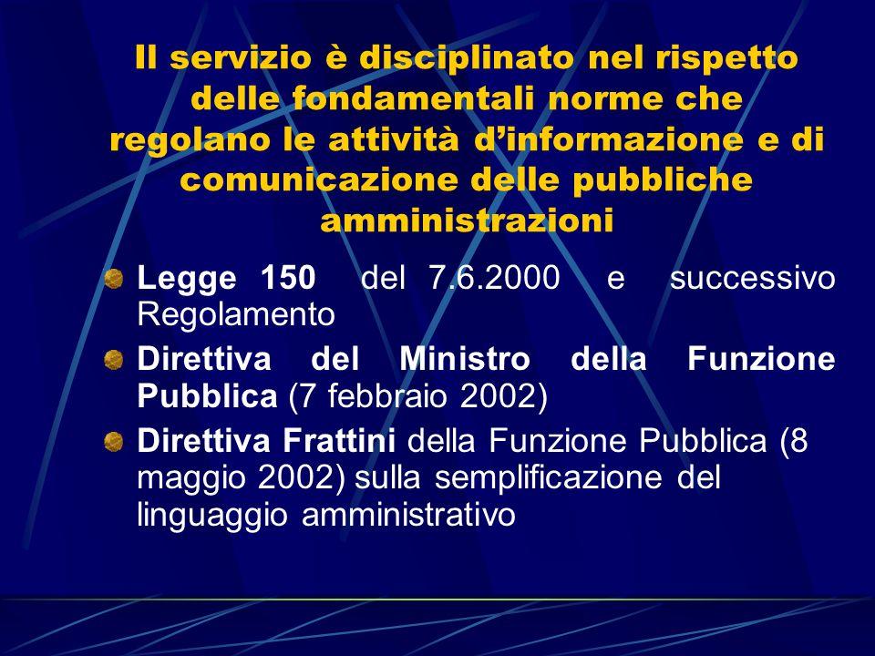 Il servizio è disciplinato nel rispetto delle fondamentali norme che regolano le attività dinformazione e di comunicazione delle pubbliche amministrazioni Legge 150 del 7.6.2000 e successivo Regolamento Direttiva del Ministro della Funzione Pubblica (7 febbraio 2002) Direttiva Frattini della Funzione Pubblica (8 maggio 2002) sulla semplificazione del linguaggio amministrativo