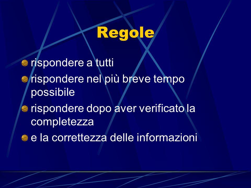 Regole rispondere a tutti rispondere nel più breve tempo possibile rispondere dopo aver verificato la completezza e la correttezza delle informazioni