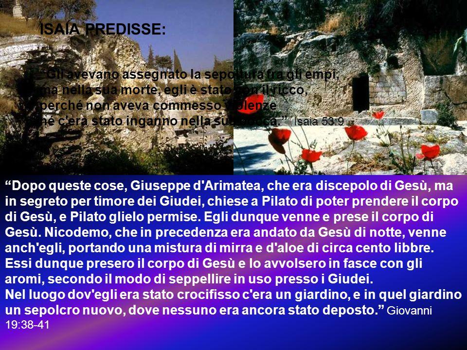 Dopo queste cose, Giuseppe d'Arimatea, che era discepolo di Gesù, ma in segreto per timore dei Giudei, chiese a Pilato di poter prendere il corpo di G