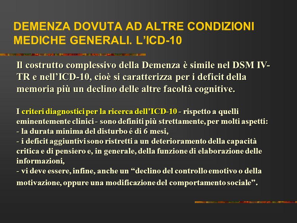 DEMENZA DOVUTA AD ALTRE CONDIZIONI MEDICHE GENERALI. LICD-10 Il costrutto complessivo della Demenza è simile nel DSM IV- TR e nellICD-10, cioè si cara