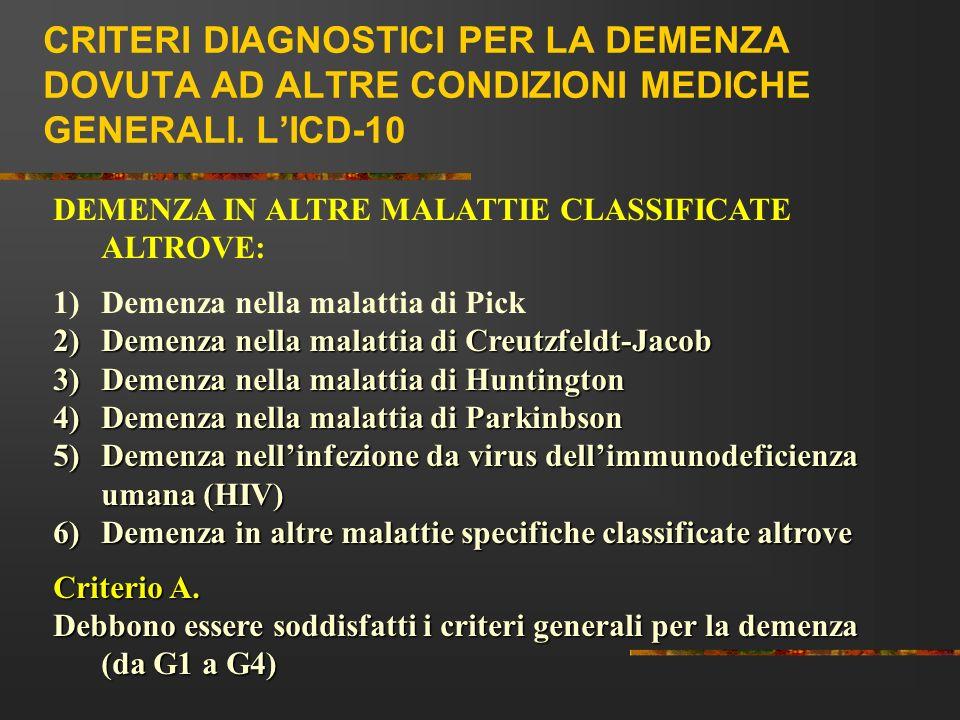 CRITERI DIAGNOSTICI PER LA DEMENZA DOVUTA AD ALTRE CONDIZIONI MEDICHE GENERALI. LICD-10 DEMENZA IN ALTRE MALATTIE CLASSIFICATE ALTROVE: 1)Demenza nell