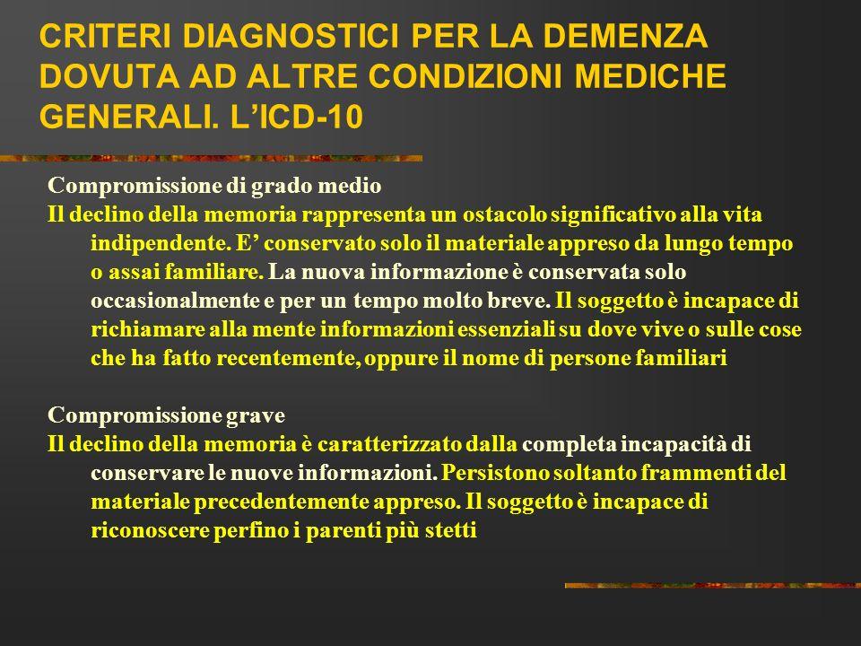 CRITERI DIAGNOSTICI PER LA DEMENZA DOVUTA AD ALTRE CONDIZIONI MEDICHE GENERALI. LICD-10 Compromissione di grado medio Il declino della memoria rappres