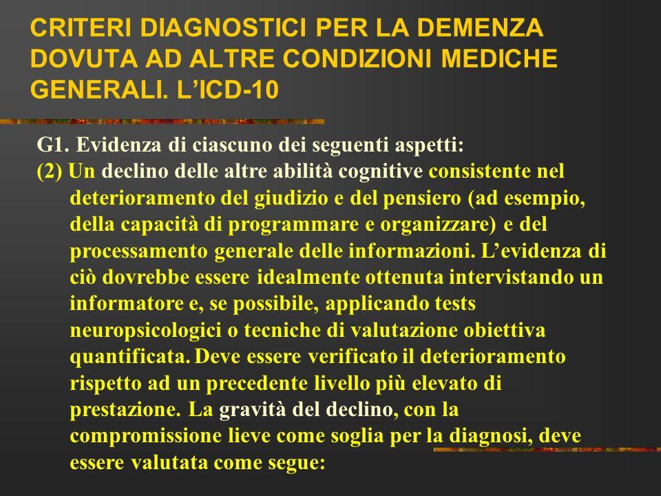 CRITERI DIAGNOSTICI PER LA DEMENZA DOVUTA AD ALTRE CONDIZIONI MEDICHE GENERALI. LICD-10 G1. Evidenza di ciascuno dei seguenti aspetti: (2) Un declino