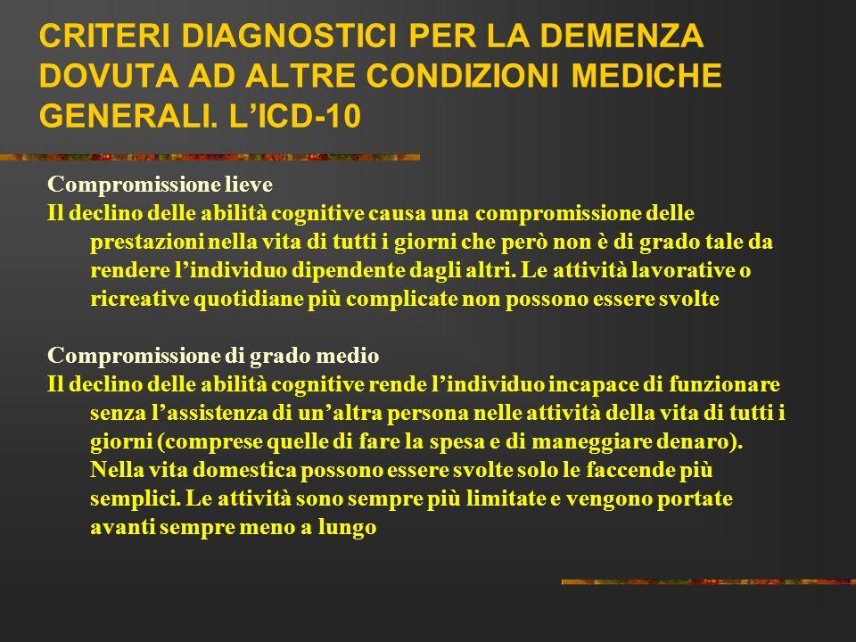 CRITERI DIAGNOSTICI PER LA DEMENZA DOVUTA AD ALTRE CONDIZIONI MEDICHE GENERALI. LICD-10 Compromissione lieve Il declino delle abilità cognitive causa