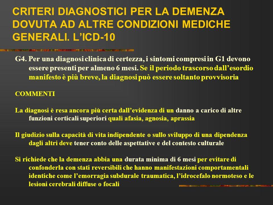 CRITERI DIAGNOSTICI PER LA DEMENZA DOVUTA AD ALTRE CONDIZIONI MEDICHE GENERALI. LICD-10 G4. Per una diagnosi clinica di certezza, i sintomi compresi i