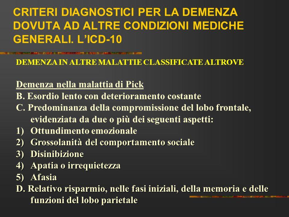 CRITERI DIAGNOSTICI PER LA DEMENZA DOVUTA AD ALTRE CONDIZIONI MEDICHE GENERALI. LICD-10 DEMENZA IN ALTRE MALATTIE CLASSIFICATE ALTROVE Demenza nella m