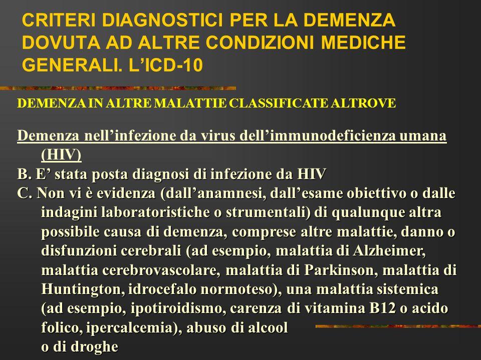 CRITERI DIAGNOSTICI PER LA DEMENZA DOVUTA AD ALTRE CONDIZIONI MEDICHE GENERALI. LICD-10 DEMENZA IN ALTRE MALATTIE CLASSIFICATE ALTROVE Demenza nellinf