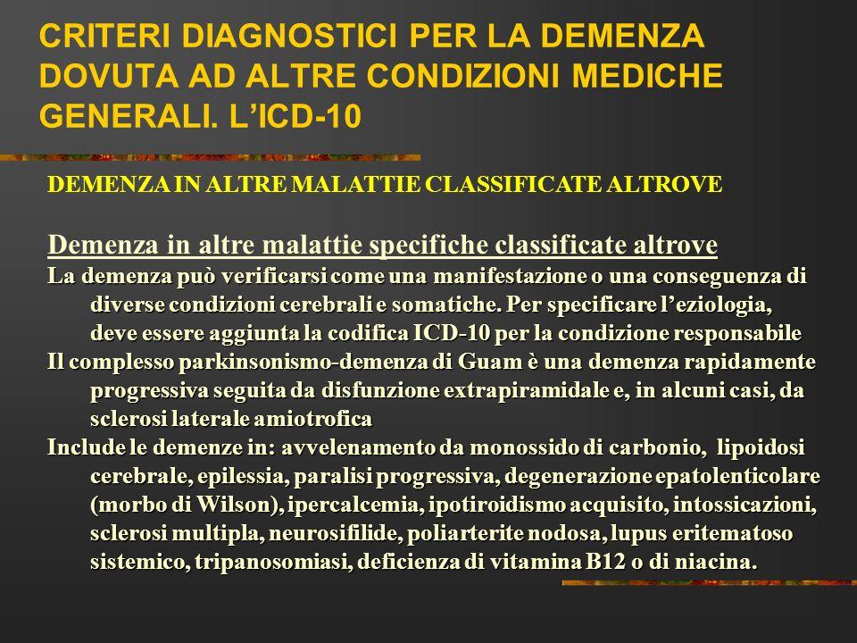 CRITERI DIAGNOSTICI PER LA DEMENZA DOVUTA AD ALTRE CONDIZIONI MEDICHE GENERALI. LICD-10 DEMENZA IN ALTRE MALATTIE CLASSIFICATE ALTROVE Demenza in altr