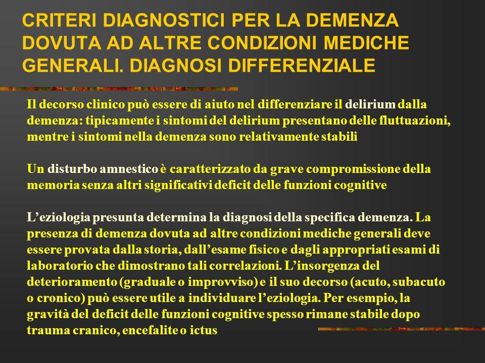 CRITERI DIAGNOSTICI PER LA DEMENZA DOVUTA AD ALTRE CONDIZIONI MEDICHE GENERALI. DIAGNOSI DIFFERENZIALE Il decorso clinico può essere di aiuto nel diff
