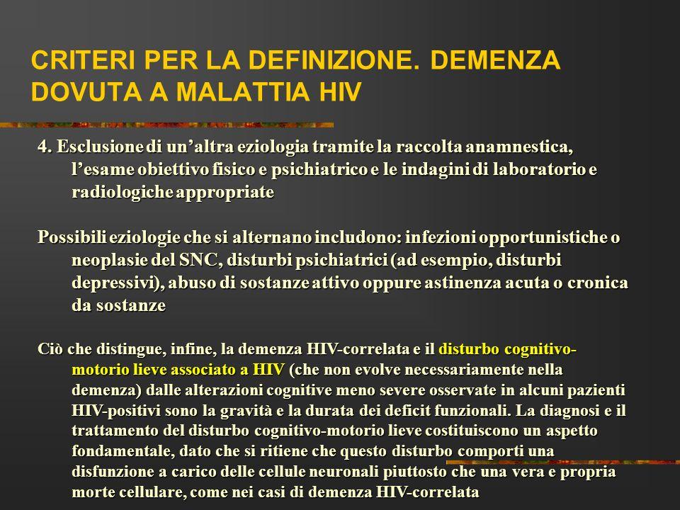 CRITERI PER LA DEFINIZIONE. DEMENZA DOVUTA A MALATTIA HIV 4. Esclusione di unaltra eziologia tramite la raccolta anamnestica, lesame obiettivo fisico