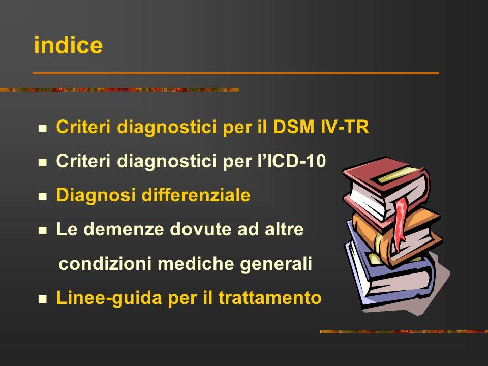 indice Criteri diagnostici per il DSM IV-TR Criteri diagnostici per lICD-10 Diagnosi differenziale Le demenze dovute ad altre condizioni mediche gener