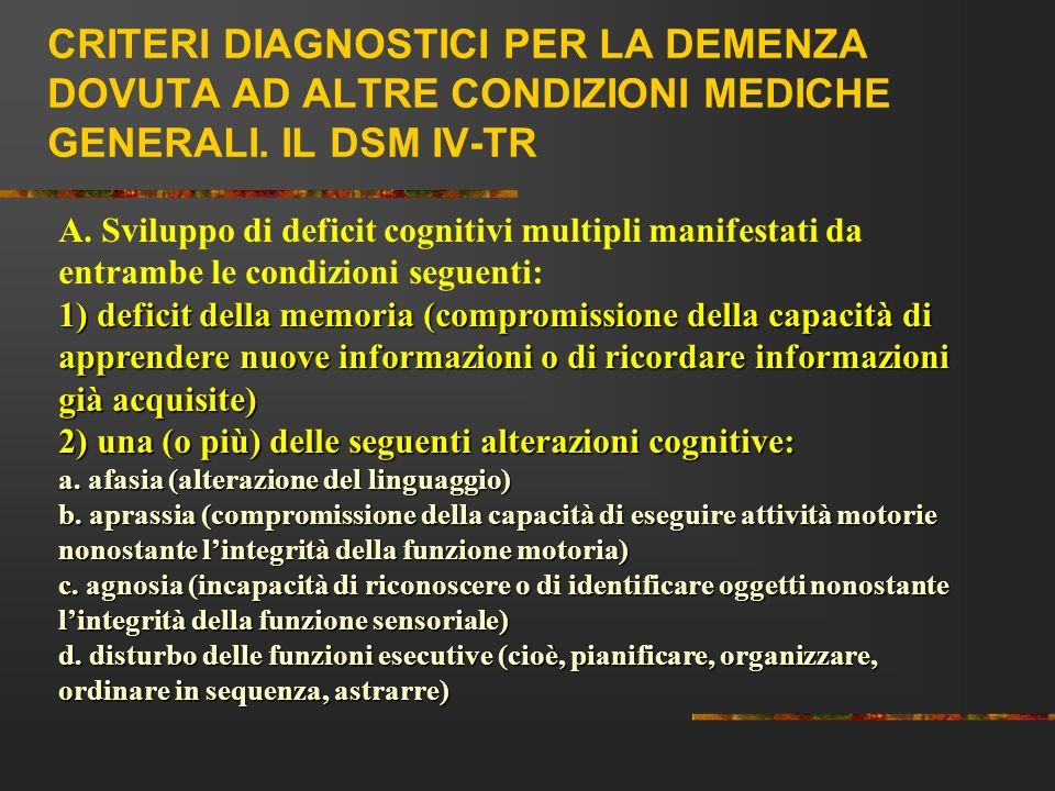 CRITERI DIAGNOSTICI PER LA DEMENZA DOVUTA AD ALTRE CONDIZIONI MEDICHE GENERALI. IL DSM IV-TR A. Sviluppo di deficit cognitivi multipli manifestati da