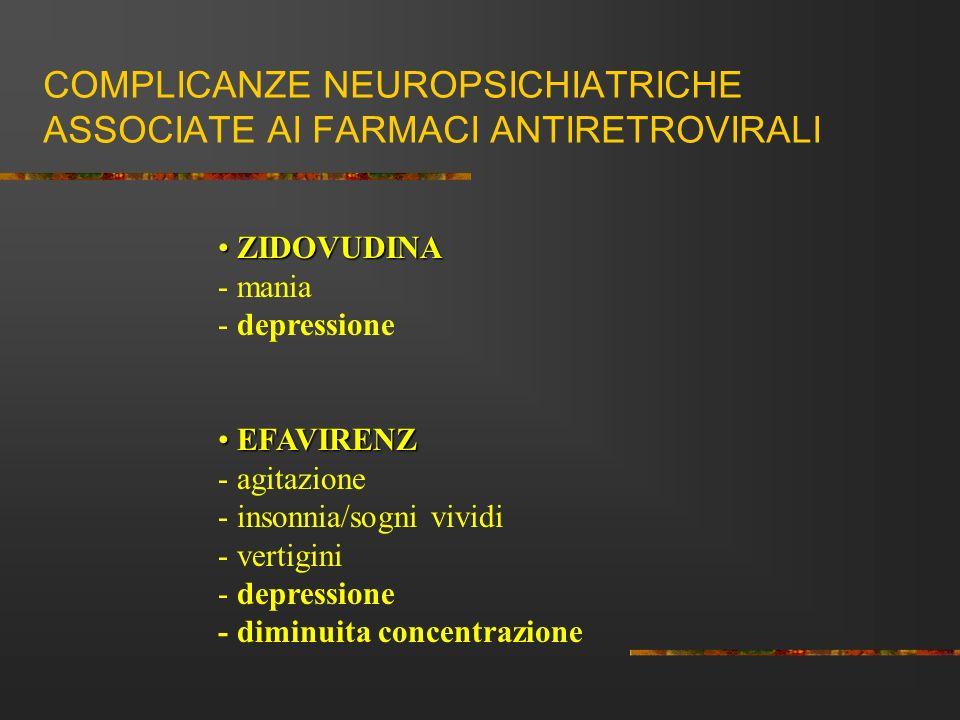 COMPLICANZE NEUROPSICHIATRICHE ASSOCIATE AI FARMACI ANTIRETROVIRALI ZIDOVUDINA ZIDOVUDINA - mania - depressione EFAVIRENZ EFAVIRENZ - agitazione - ins