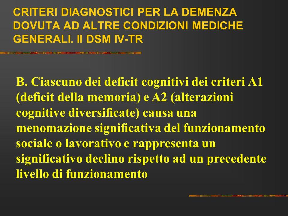 CRITERI DIAGNOSTICI PER LA DEMENZA DOVUTA AD ALTRE CONDIZIONI MEDICHE GENERALI. Il DSM IV-TR B. Ciascuno dei deficit cognitivi dei criteri A1 (deficit