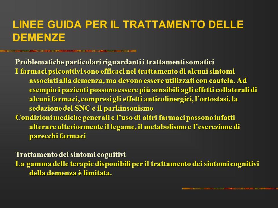 LINEE GUIDA PER IL TRATTAMENTO DELLE DEMENZE Problematiche particolari riguardanti i trattamenti somatici I farmaci psicoattivi sono efficaci nel trat