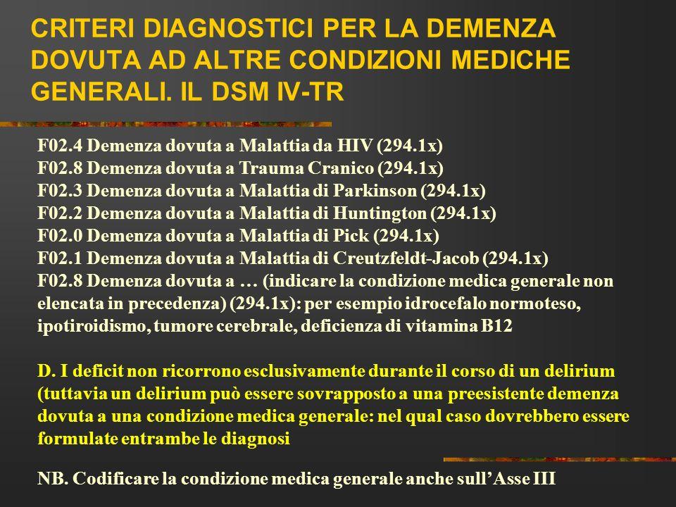 CRITERI DIAGNOSTICI PER LA DEMENZA DOVUTA AD ALTRE CONDIZIONI MEDICHE GENERALI. IL DSM IV-TR F02.4 Demenza dovuta a Malattia da HIV (294.1x) F02.8 Dem