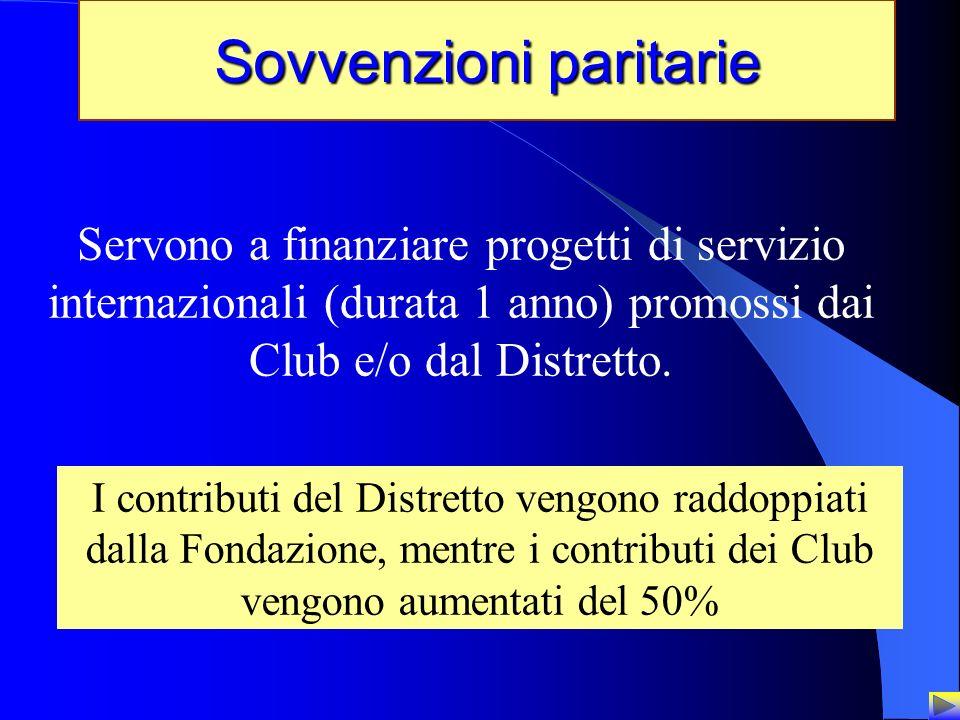 20 Sovvenzioni paritarie Servono a finanziare progetti di servizio internazionali (durata 1 anno) promossi dai Club e/o dal Distretto. I contributi de