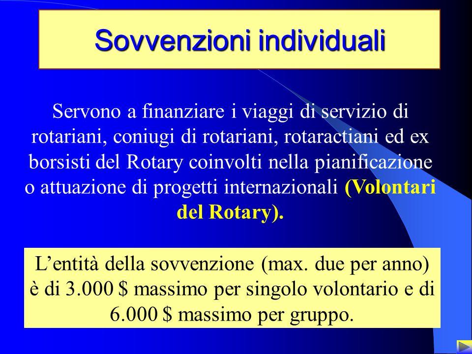 22 Sovvenzioni individuali Servono a finanziare i viaggi di servizio di rotariani, coniugi di rotariani, rotaractiani ed ex borsisti del Rotary coinvo