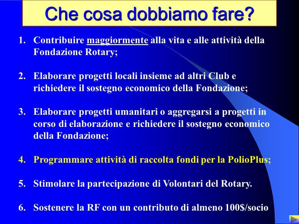 29 Che cosa dobbiamo fare? 1.Contribuire maggiormente alla vita e alle attività della Fondazione Rotary; 2.Elaborare progetti locali insieme ad altri