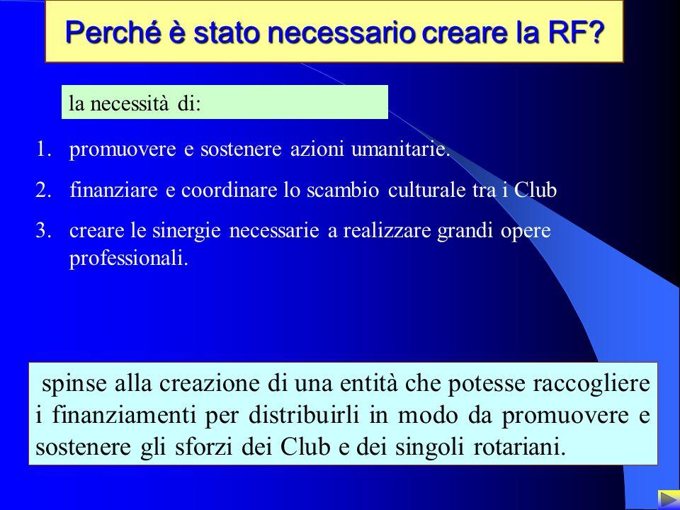 3 Perché è stato necessario creare la RF? la necessità di: 1.promuovere e sostenere azioni umanitarie. 2.finanziare e coordinare lo scambio culturale