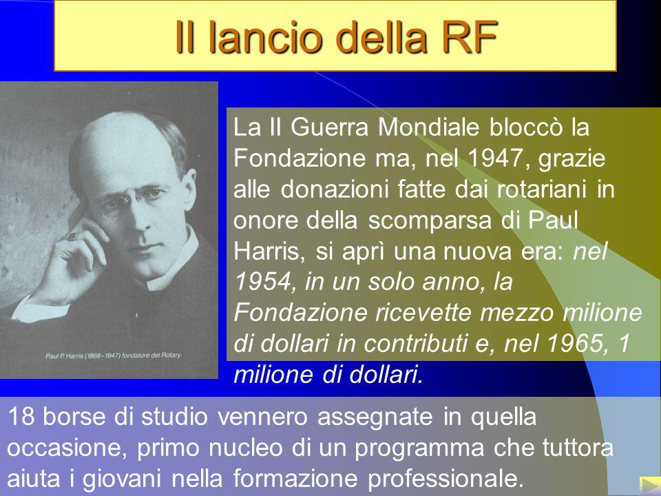 6 Il lancio della RF La II Guerra Mondiale bloccò la Fondazione ma, nel 1947, grazie alle donazioni fatte dai rotariani in onore della scomparsa di Pa