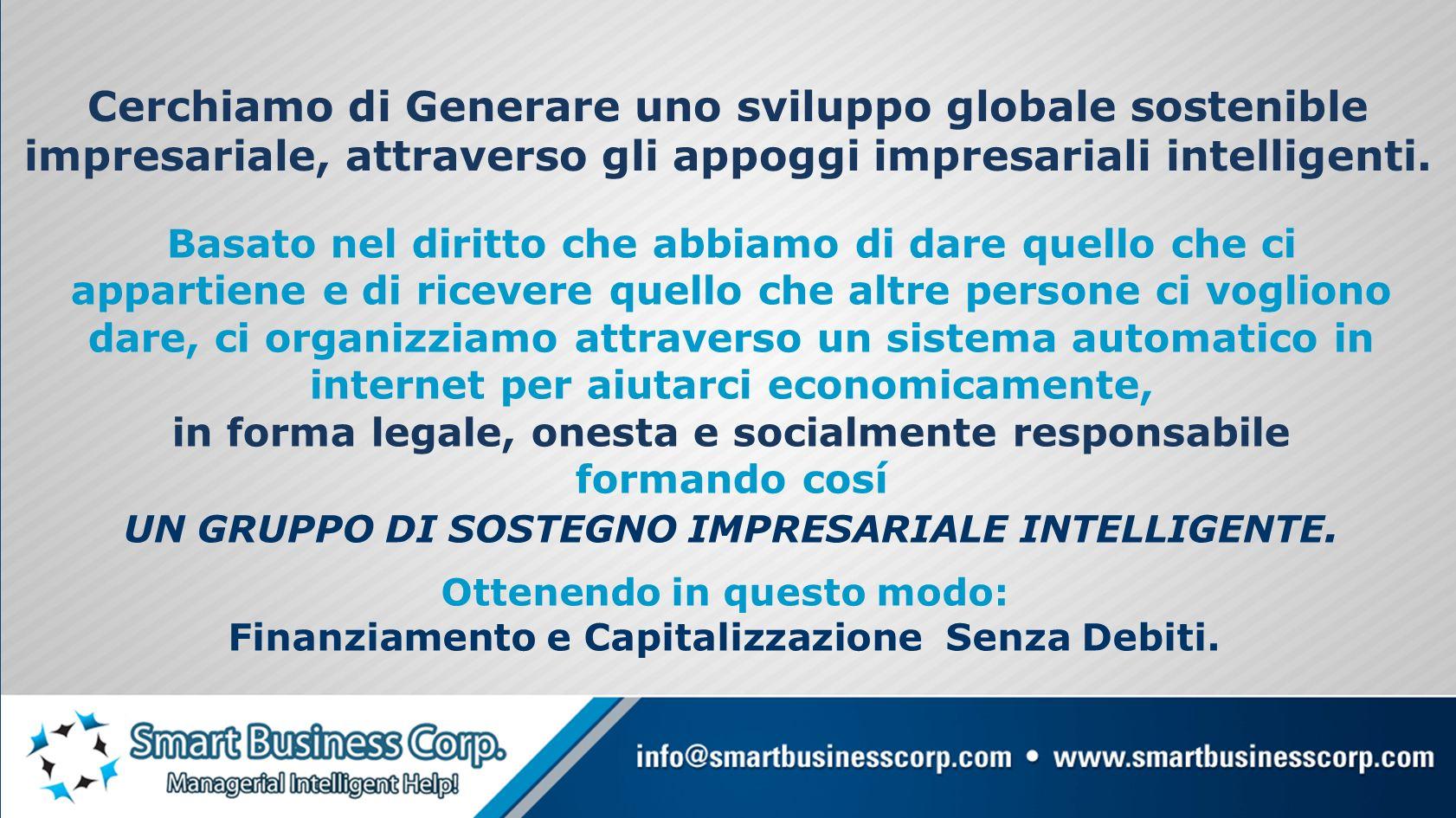 Cerchiamo di Generare uno sviluppo globale sostenible impresariale, attraverso gli appoggi impresariali intelligenti.