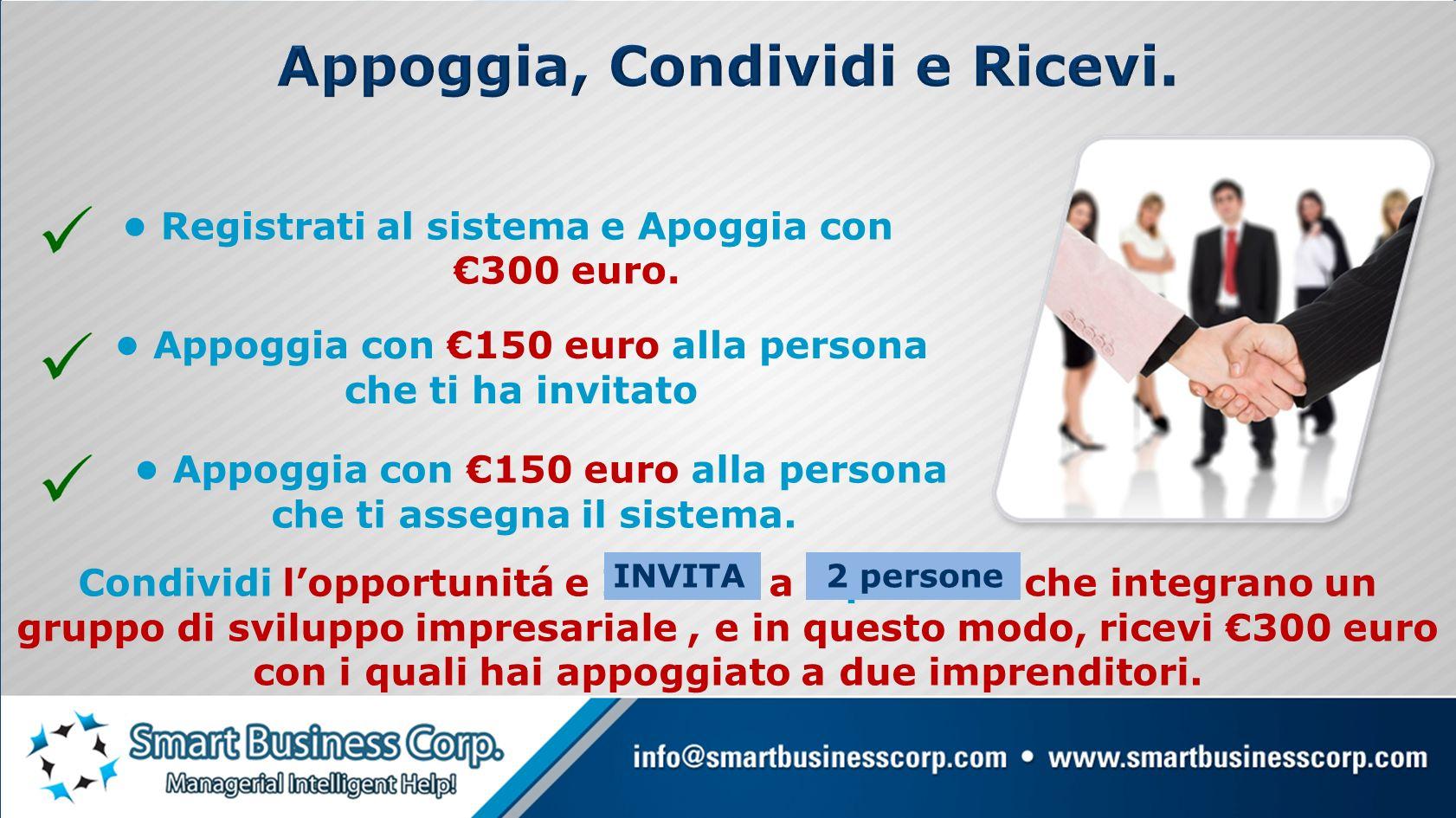 PER CONDIVIDERE Ricevi un appoggio di 150 euros per ogni persona con la quale condividi lopportunitá e che decide integrarsi al tuo gruppo.