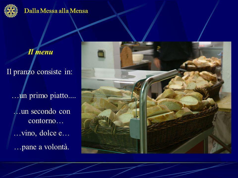 Il menu Il pranzo consiste in: Dalla Messa alla Mensa …un primo piatto.... …vino, dolce e… …un secondo con contorno… …pane a volontà.