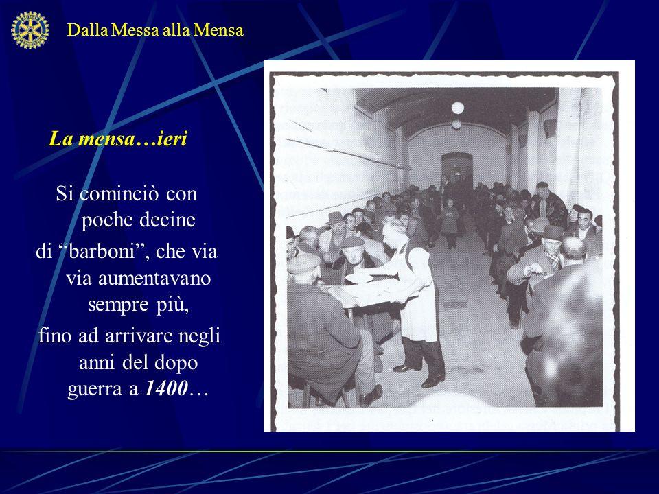 La mensa…ieri Dalla Messa alla Mensa Si cominciò con poche decine di barboni, che via via aumentavano sempre più, fino ad arrivare negli anni del dopo