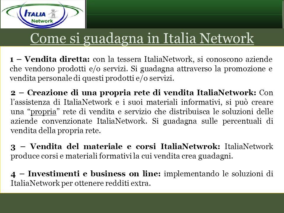 Come si guadagna in Italia Network 1 – Vendita diretta: con la tessera ItaliaNetwork, si conoscono aziende che vendono prodotti e/o servizi. Si guadag