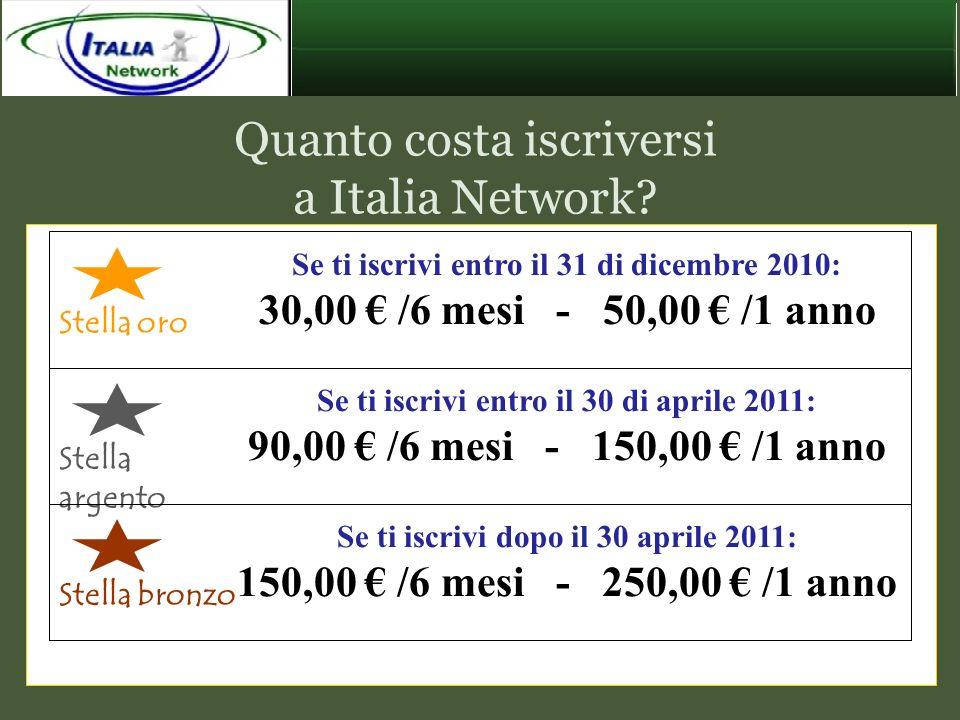 Quanto costa iscriversi a Italia Network? Se ti iscrivi entro il 31 di dicembre 2010: 30,00 /6 mesi - 50,00 /1 anno Stella oro Se ti iscrivi entro il
