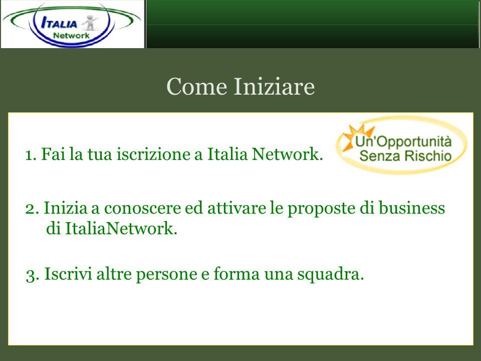 Come Iniziare 1. Fai la tua iscrizione a Italia Network. 2. Inizia a conoscere ed attivare le proposte di business di ItaliaNetwork. 3. Iscrivi altre