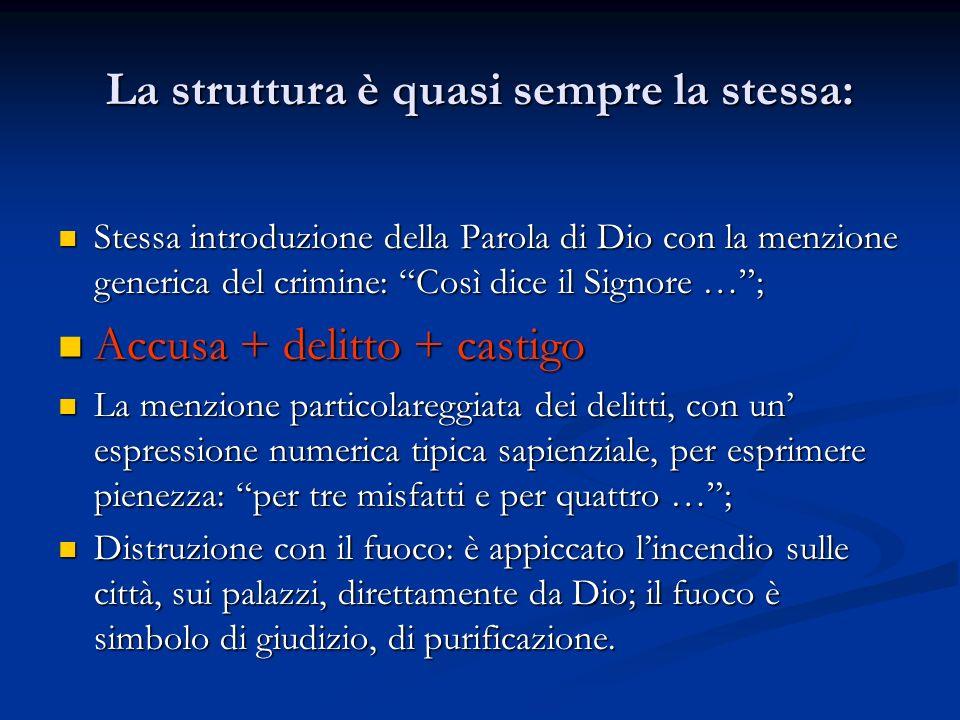 La struttura è quasi sempre la stessa: Stessa introduzione della Parola di Dio con la menzione generica del crimine: Così dice il Signore …; Stessa in