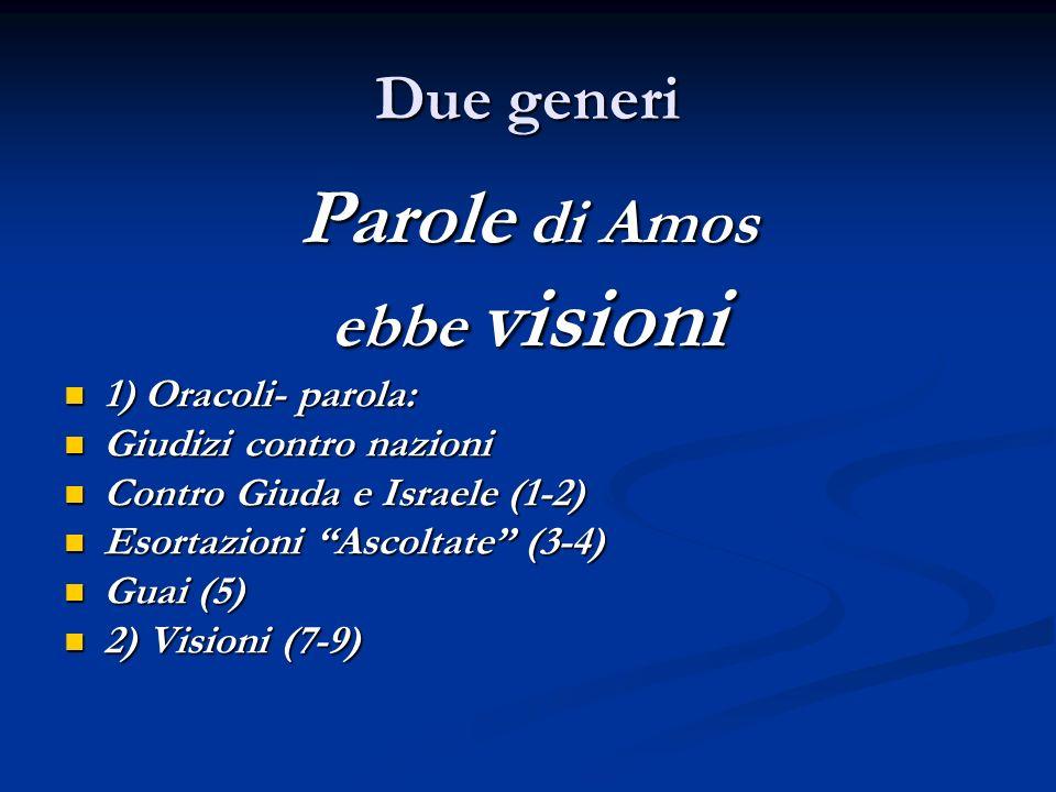 Due generi Parole di Amos ebbe visioni 1) Oracoli- parola: 1) Oracoli- parola: Giudizi contro nazioni Giudizi contro nazioni Contro Giuda e Israele (1
