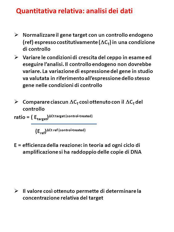 Quantitativa relativa: analisi dei dati Normalizzare il gene target con un controllo endogeno (ref) espresso costitutivamente ( C T ) in una condizion