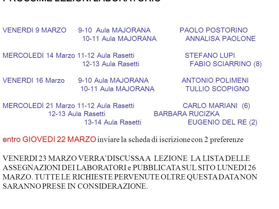 >> PROSSIME LEZIONI LABORATORIO VENERDI 9 MARZO 9-10 Aula MAJORANA PAOLO POSTORINO 10-11 Aula MAJORANA ANNALISA PAOLONE MERCOLEDI 14 Marzo 11-12 Aula