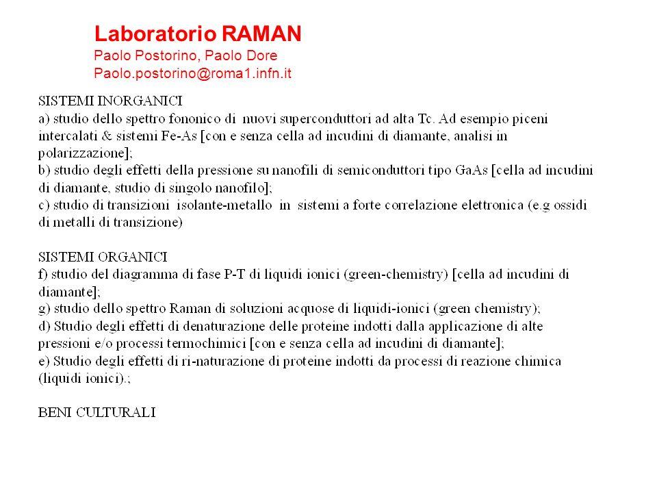 Laboratorio RAMAN Paolo Postorino, Paolo Dore Paolo.postorino@roma1.infn.it