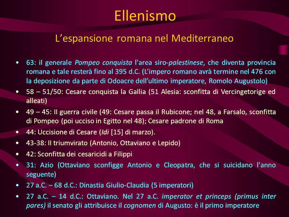 Lespansione romana nel Mediterraneo Ellenismo