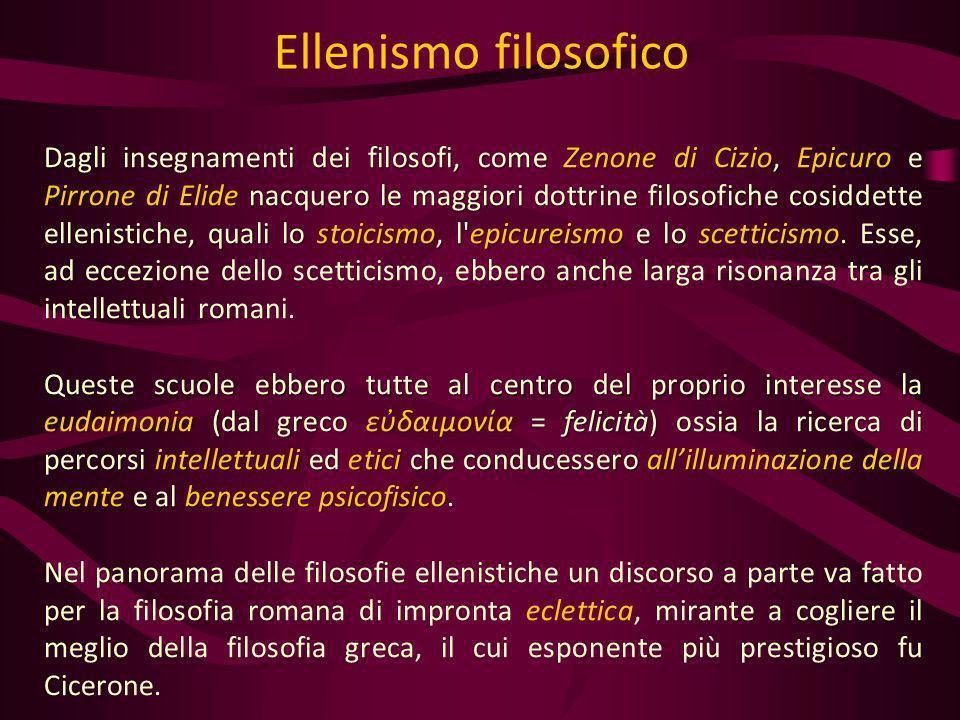 Dagli insegnamenti dei filosofi, come Zenone di Cizio, Epicuro e Pirrone di Elide nacquero le maggiori dottrine filosofiche cosiddette ellenistiche, q
