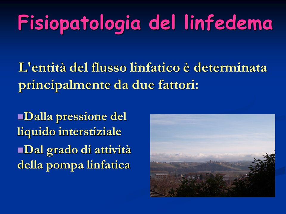 L'entità del flusso linfatico è determinata principalmente da due fattori: Fisiopatologia del linfedema Dalla pressione del liquido interstiziale Dall